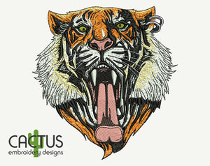 Growling Tiger Embroidery Design