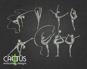 Gymnasts Set of 8 Embroidery Designs