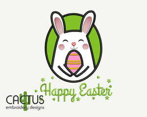 Happy Easter Rabbit Embroidery Design