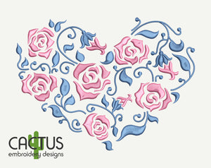 Heart with Roses Embroidery Design