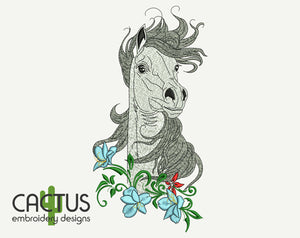 Horse & Flowers Embroidery Design