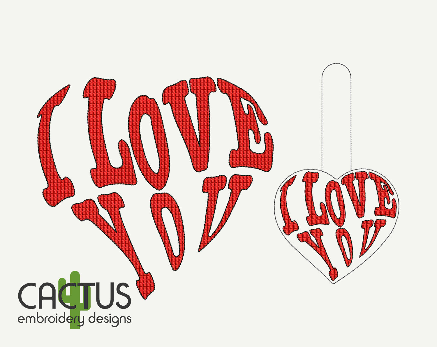 I Love You Embroidery Design & Snap Tab