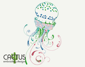 Jellyfish Machine Embroidery Design