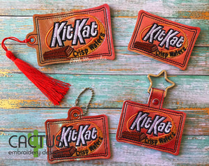 KK Chocolate Set of Bookmark\Bag Tag, Eyelet Fob, Feltie, Snap Tab Sanitizer Holder & Zipper Bag