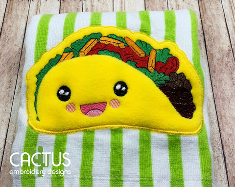 Kawaii Taco Applique Embroidery Design