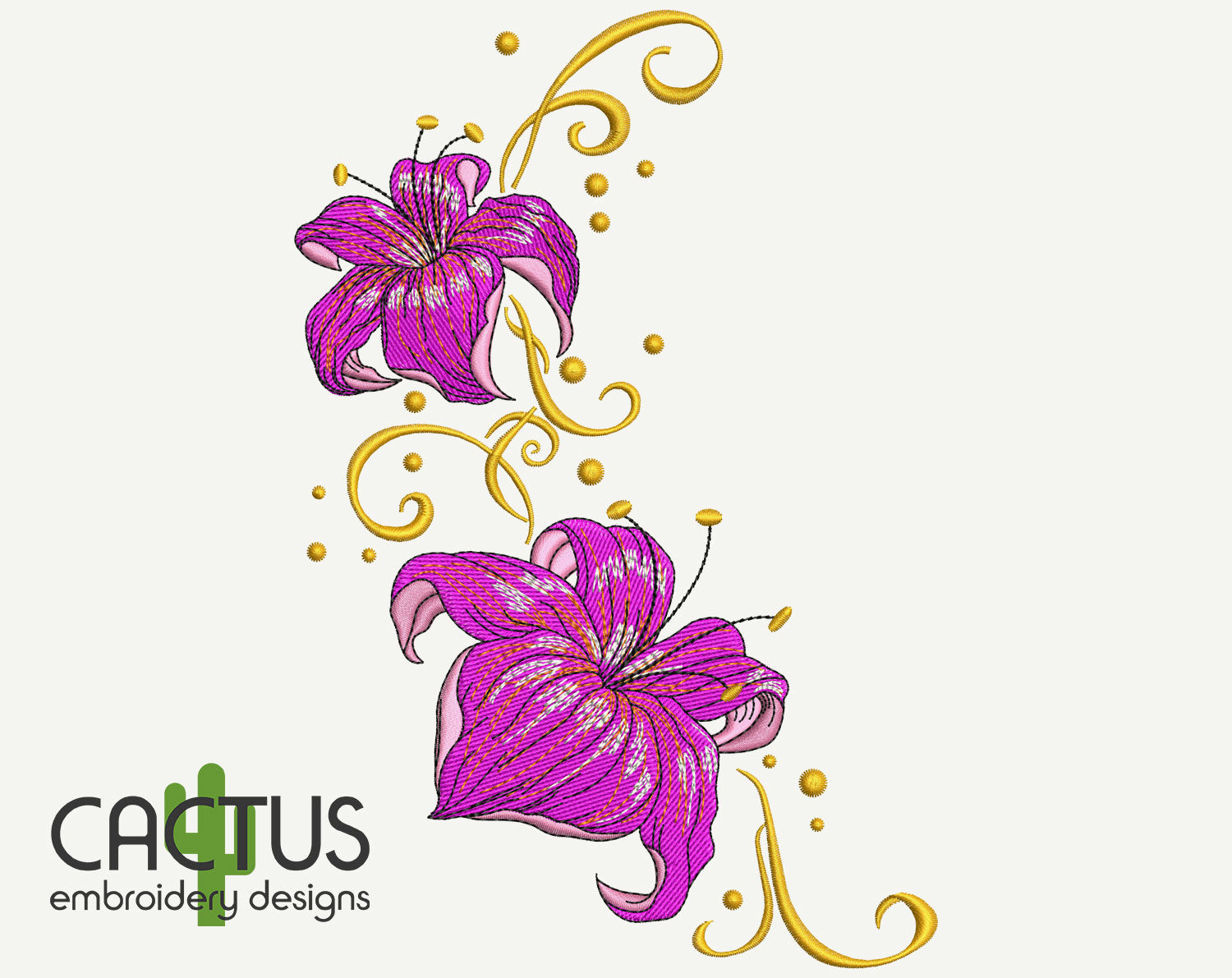 Lilies Embroidery Design