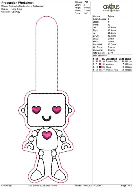 Love Robot Snap Tab Mchine Embroidery Design