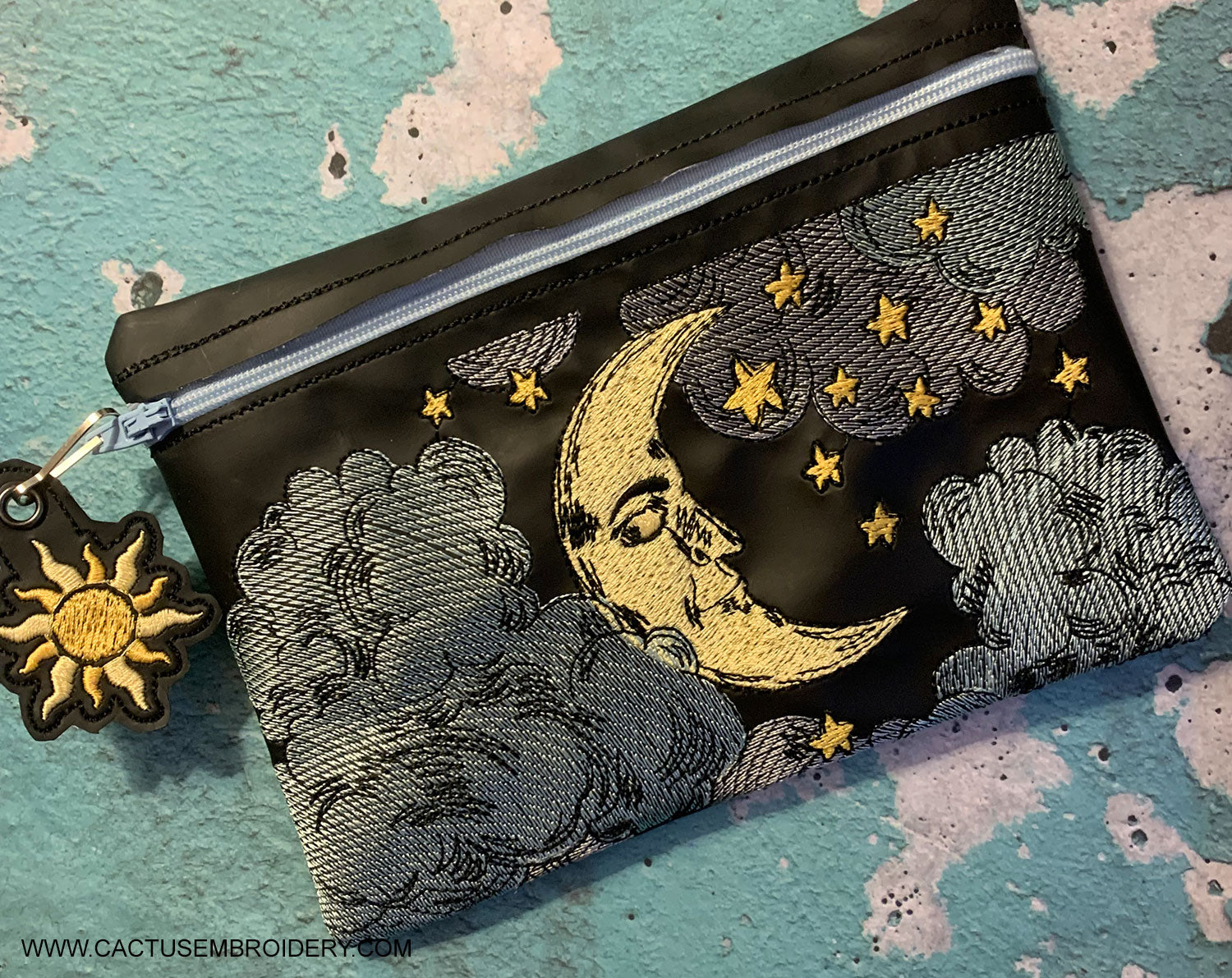 Moon and Stars Zipper Bag + Sun Zipper Pull