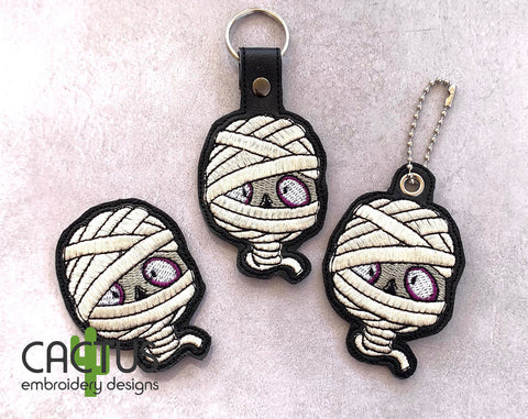 Mummy Set of Stand Alone Design, Sanitizer Holder, Bookmark\Bag Tag, Eyelet Fob, Feltie, Snap Tab