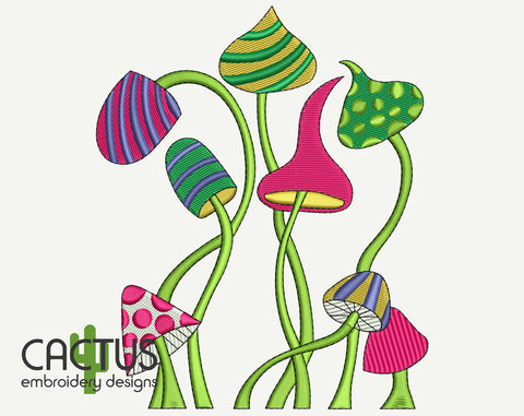 Mushrooms Embroidery Design