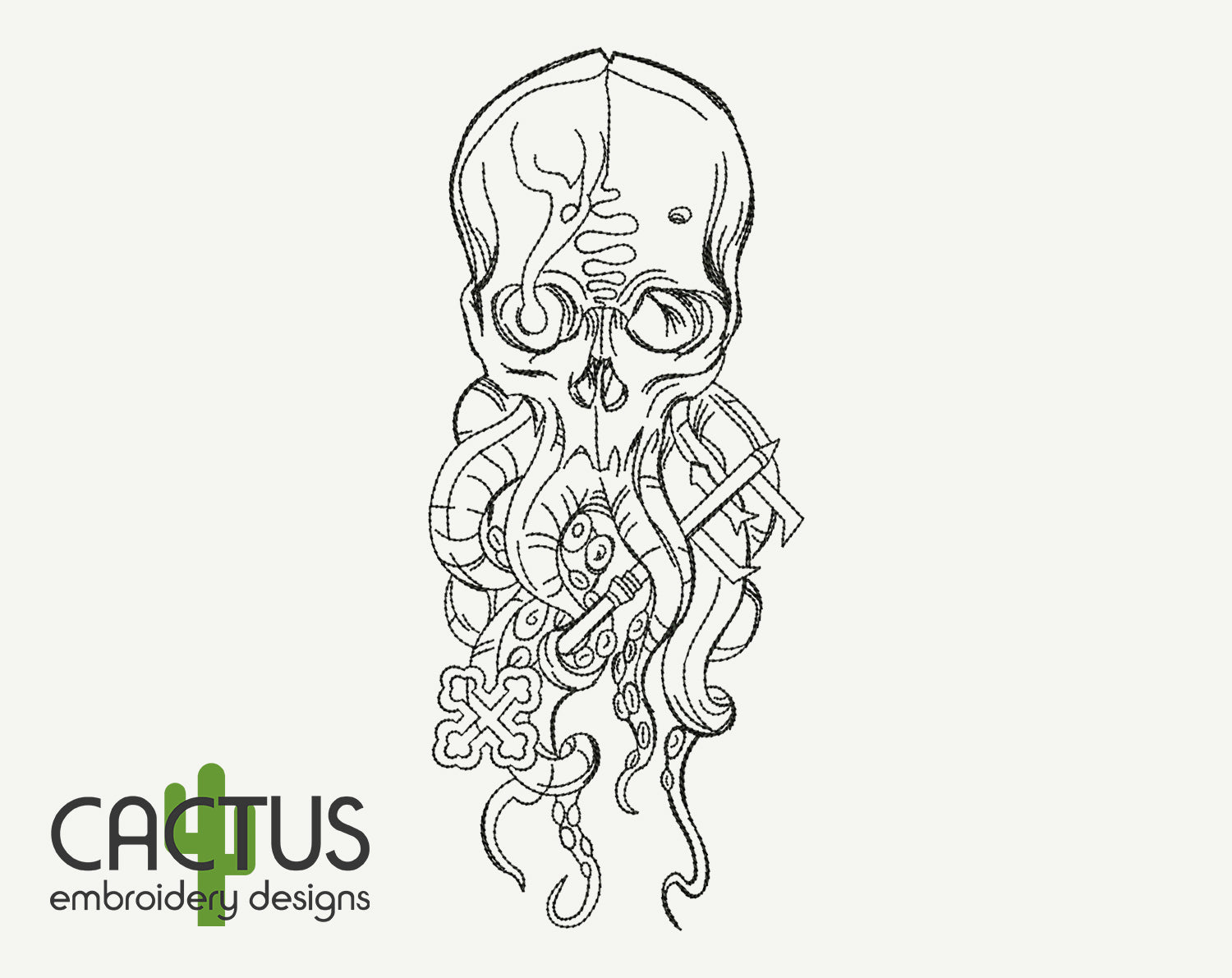 Octopus Skull Embroidery Design