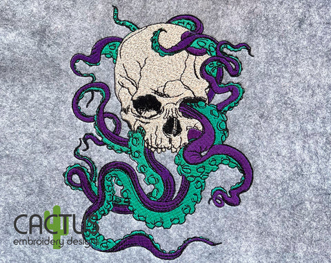 Octopus and Skull Machine Embroidery Design