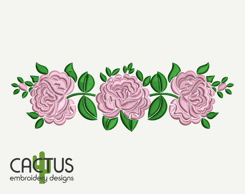 Pink Roses Pattern Embroidery Design