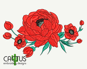 Poppie Flowers Embroidery Design