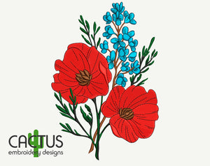 Poppies Bouquet Embroidery Design