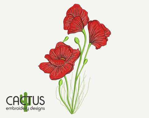Poppies Flowers Bouquet Embroidery Design