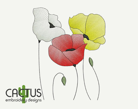 Poppies Embroidery Design