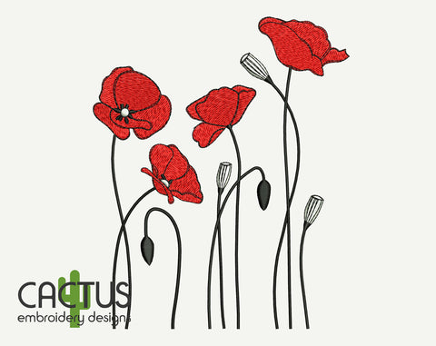 Simple Poppies Embroidery Design