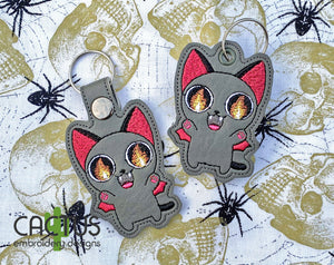 Possessed Cat Set of Eyelet Fob and Snap Tab