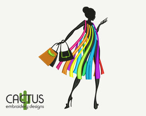 Rainbow Dress Silhouette Embroidery Design