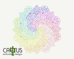 Rainbow Mandala Embroidery Design