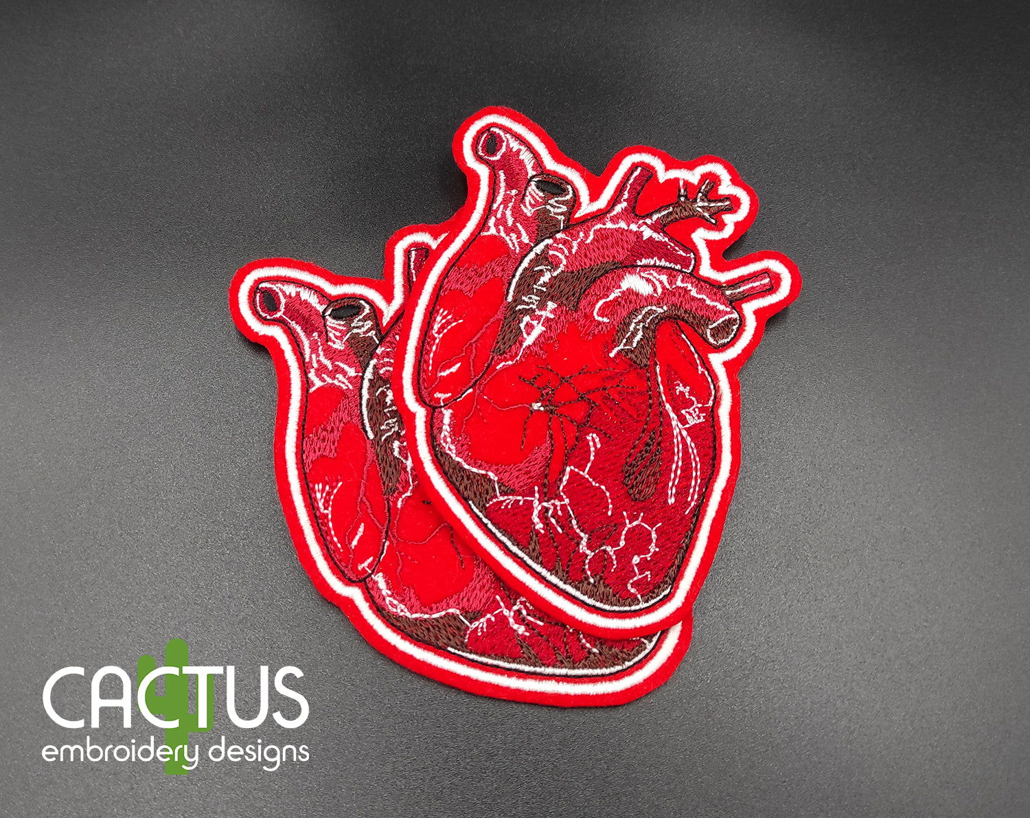 Realistic Heart Patch Embroidery Design