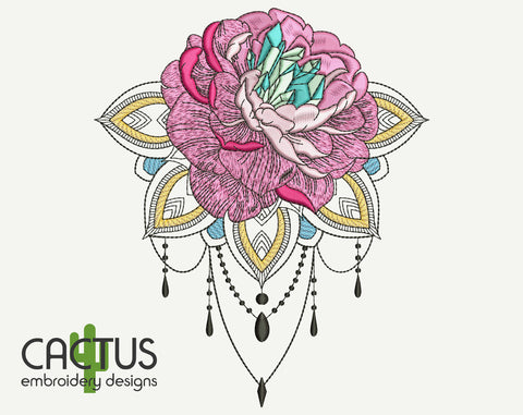 Rose with Mandala Embroidery Design