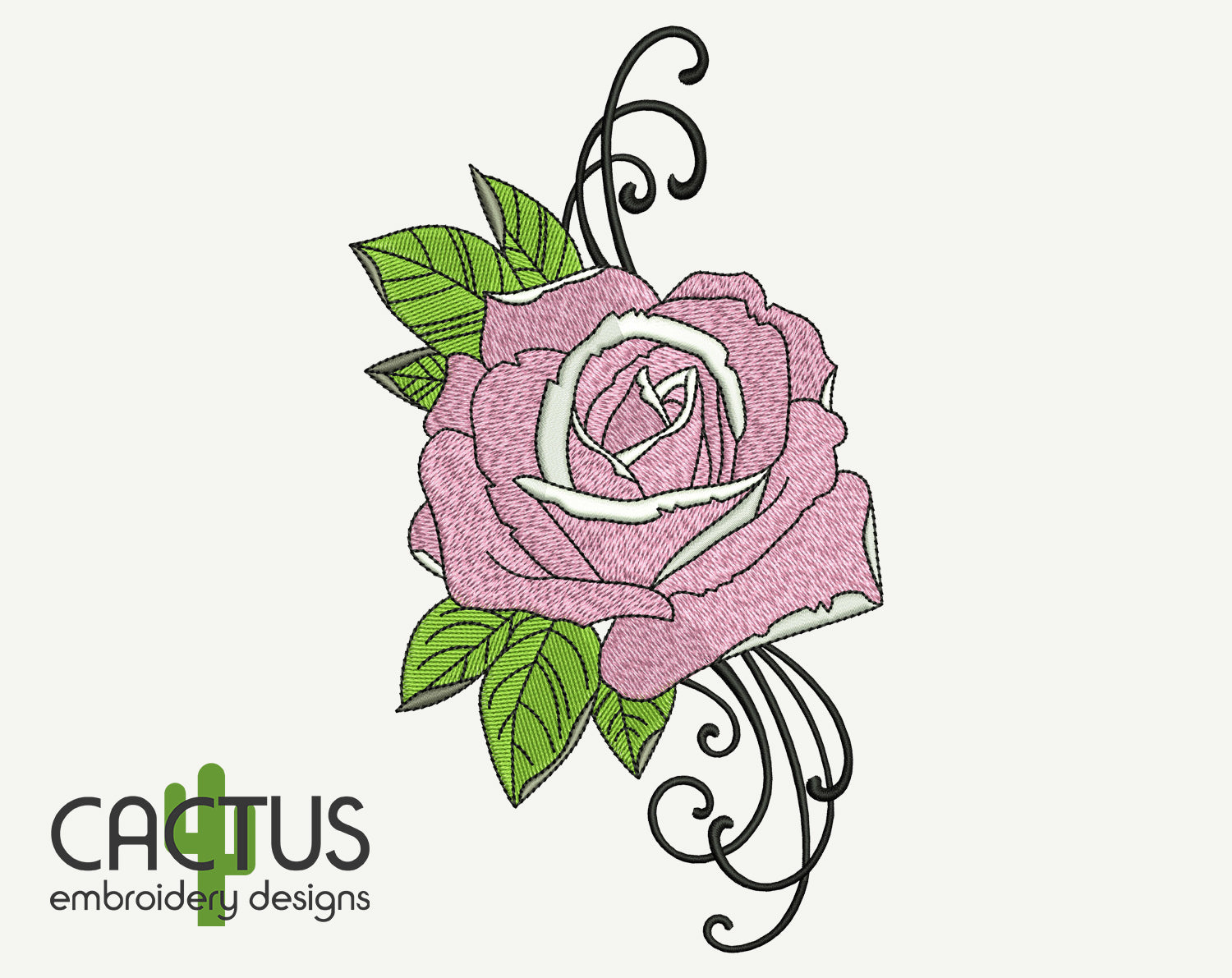 Rose with Curls Embroidery Design