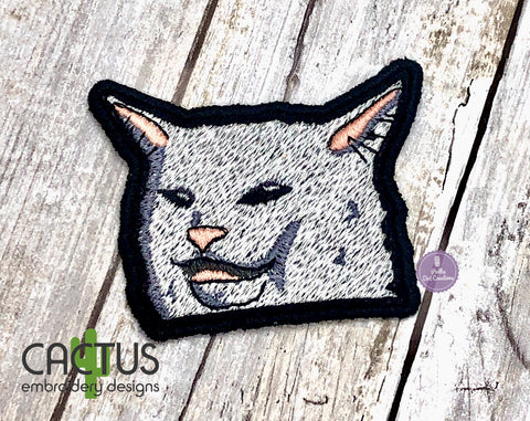 Sarcastic Cat Patch Embroidery Design