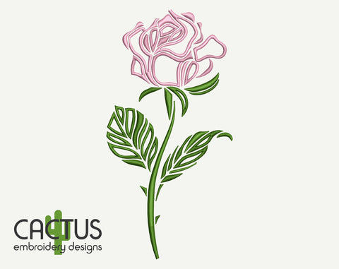 Simple Rose Flower Machine Embroidery Design