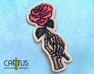 Skeleton Hand with Rose Patch Embroidery Design