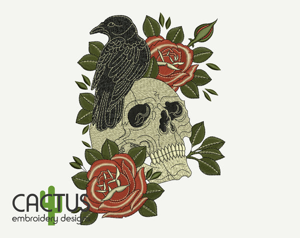 Skull & Raven Machine Embroidery Design