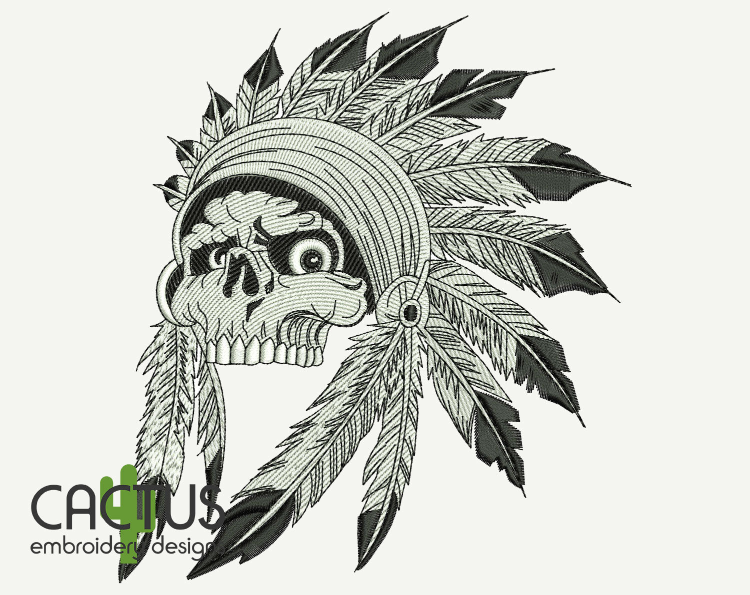 Skull Warbonnet Embroidery Design