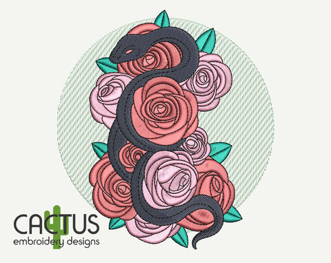 Snake in Flowers Embroidery Design