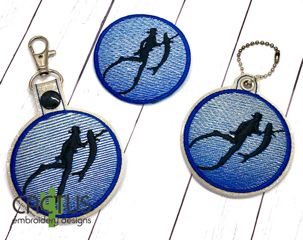 Spearfishing Set of Patch, Eyelet Fob & Snap Tab