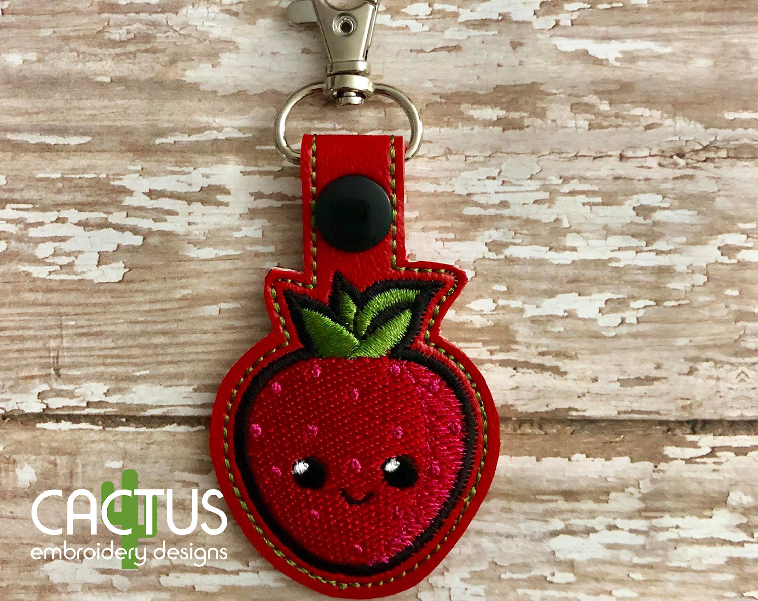 Strawberry Snap Tab Machine Embroidery Design