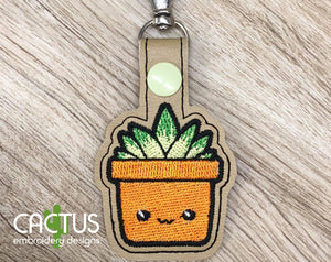 Succulent Snap Tab Machine Embroidery Design