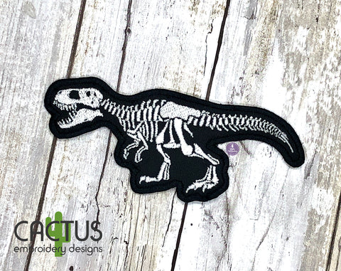 T-Rex Skeleton Patch Embroidery Design