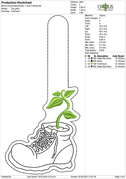 The Plant Snap Tab Machine Embroidery Design