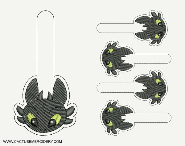 Toothless, Dragon Snap Tab Machine Embroidery Design