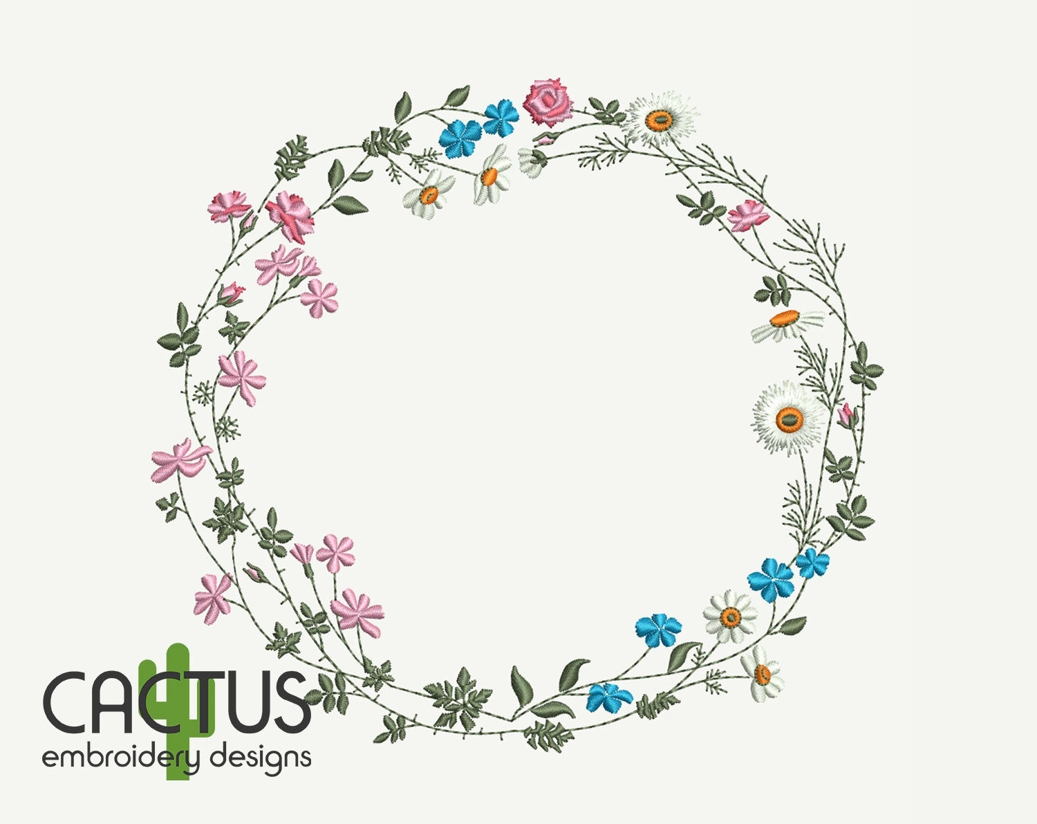 Wild Flowers Wreath Embroidery Design