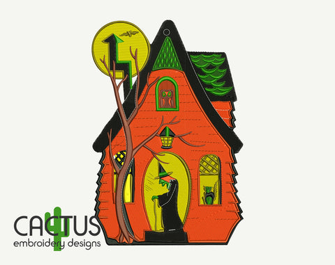 Witch Halloween House Machine Embroidery Design