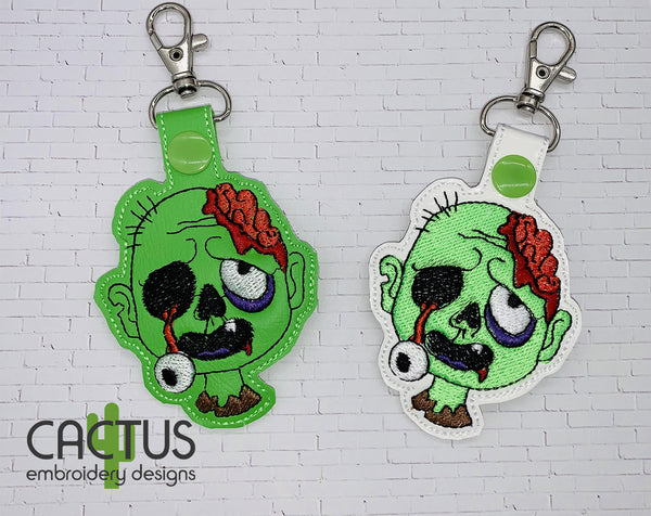 Zombie Set of Free Standing Design, Sanitizer Holder, Bookmark, Eyelet Fob, Feltie & Snap Tab