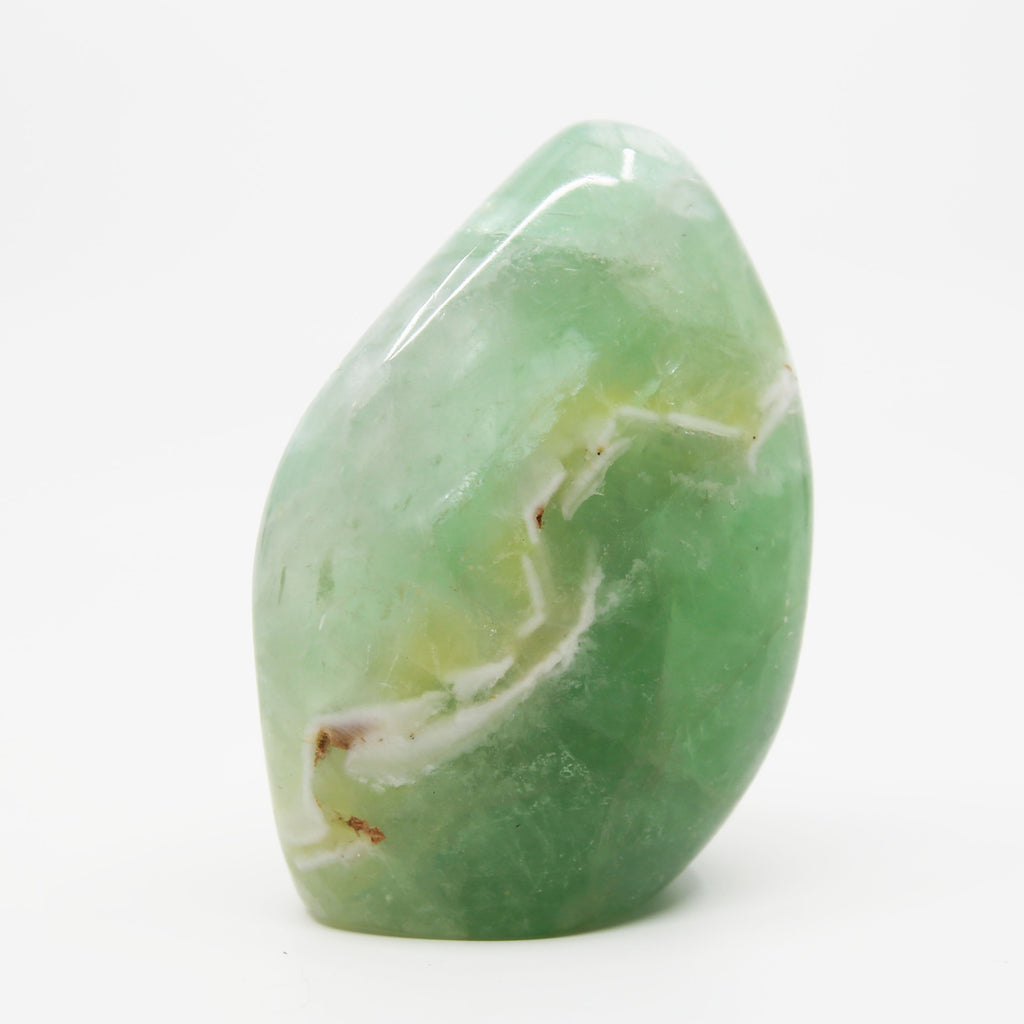 Green Fluorite Free Form with Chevron Pattern
