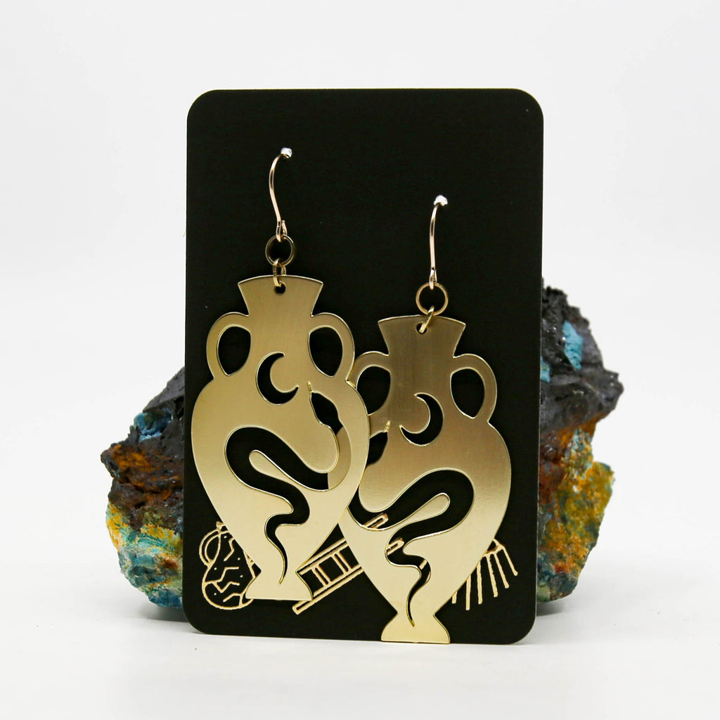 Snake and Moon Vessel Earrings