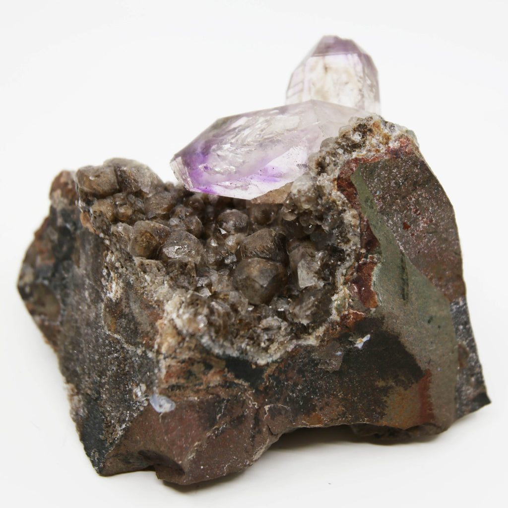 Brandberg Amethyst, Self-Healed, on Calcite and Basalt