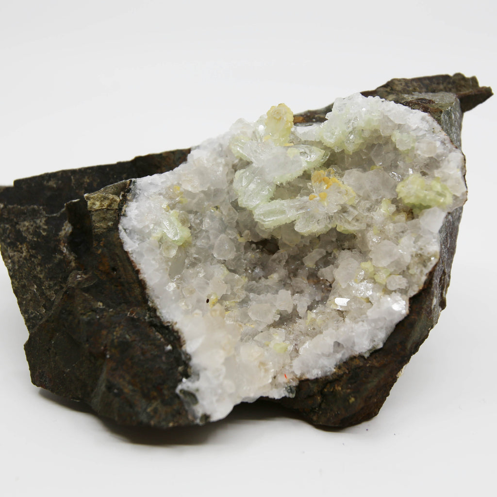 Prehnite Sugar Crystals on Calcite and Quartz