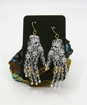 Lucite Floral Hand Earrings
