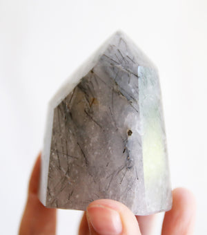 Smoky Quartz With Black Tourmaline Rutiles