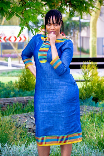 Denim Kente Dress